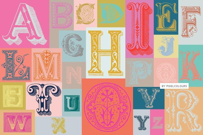 Thumbnail for Antique Ornaments Alphabet Font