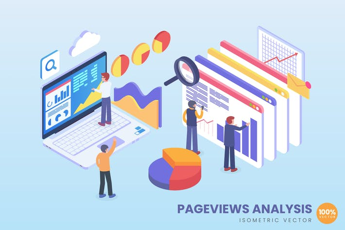 Thumbnail for Isometric Pageview Analysis Vector Concept