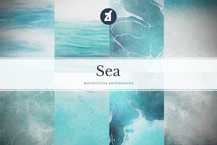 8 Sea watercolor background