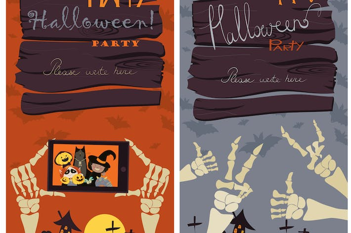 Thumbnail for Halloween Banners Set. Vector Illustration