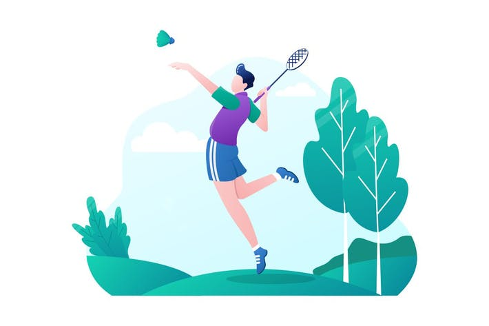 Badminton Player Character - Vector Illustration