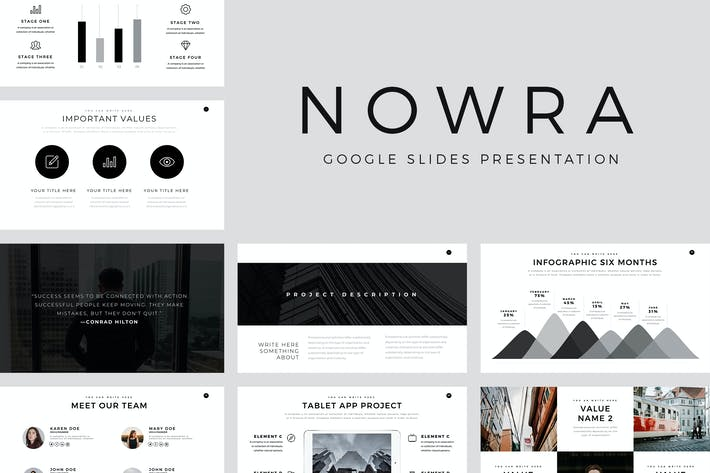 Thumbnail for Nowra Minimal Google Slides Template
