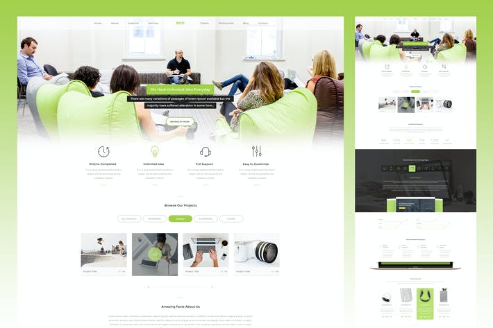 Thumbnail for Clean Onepage PSD Template