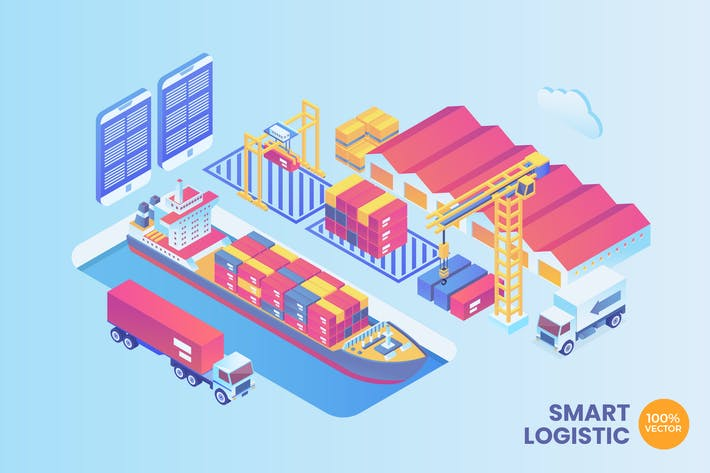 Thumbnail for Isometric Smart Port Logistic Vector Concept