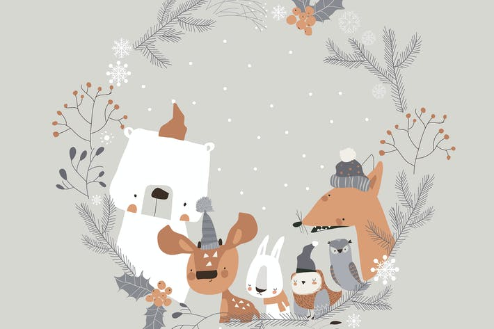 Thumbnail for Cute cartoon animals meeting holiday in winter wre