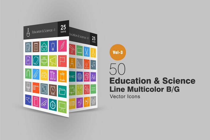 Thumbnail for 50 Education & Science Line Multicolor Icons