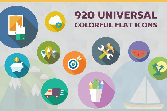 Thumbnail for Universal Colorful Flat Icons