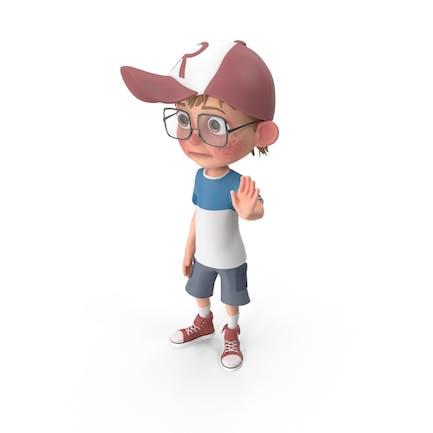 Cartoon Boy Goodbye