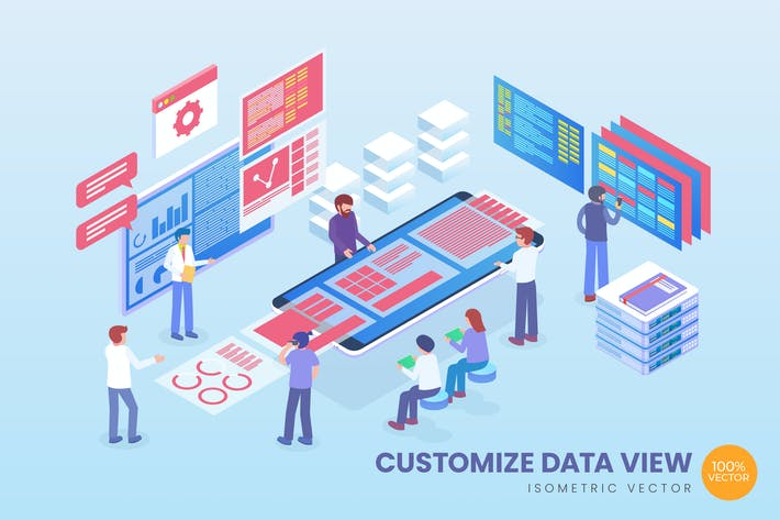 Thumbnail for Isometric Customize Data View Vector Concept