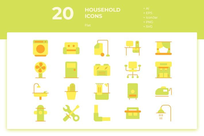 Thumbnail for 20 Household Icons (Flat)