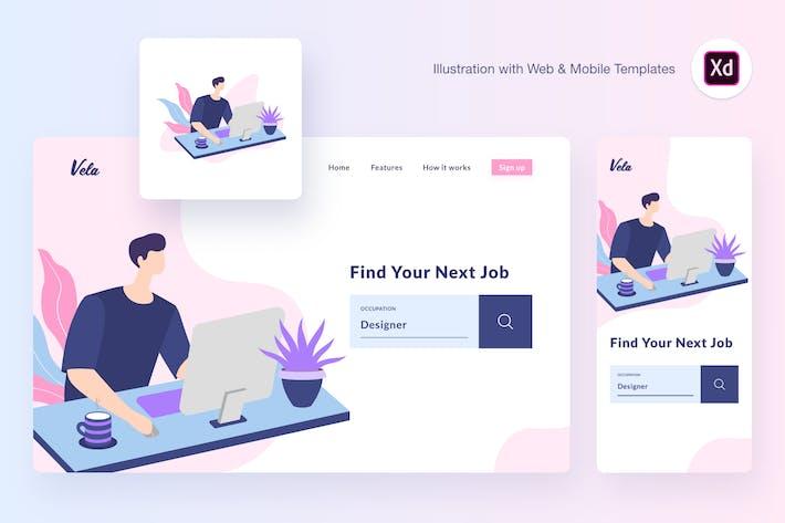 Thumbnail for Vela working illustration (Adobe XD, SVG)