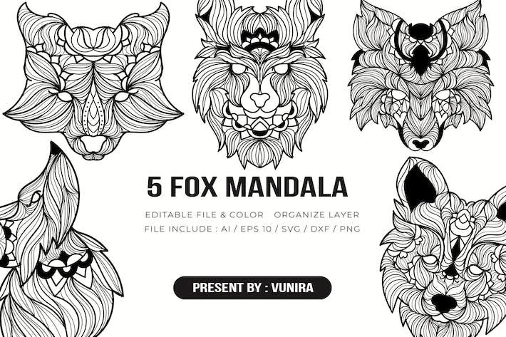 Thumbnail for 5 Fox  Mandala | Design Illustration