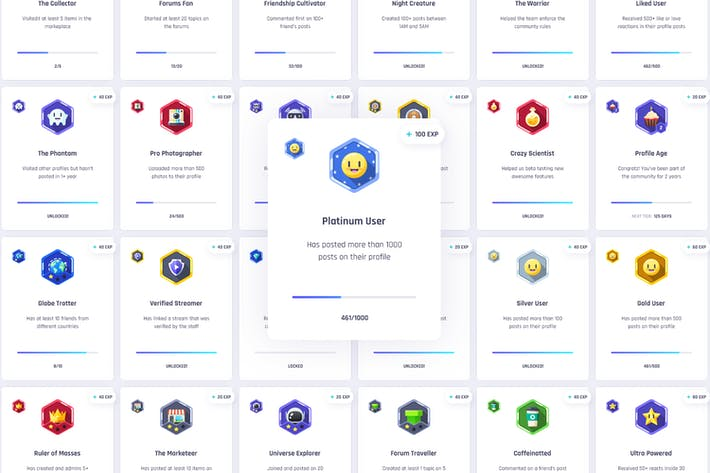 Thumbnail for 36 Hexagon Gamification Badges