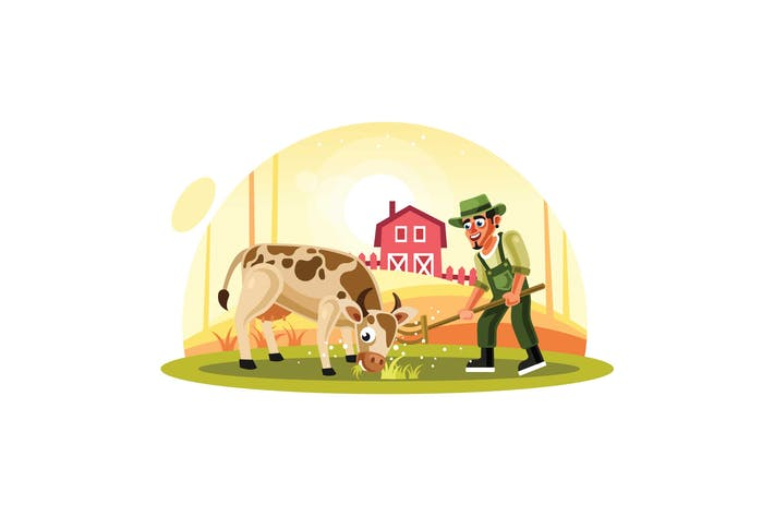 Thumbnail for Farmer Feeding Grass to Cow in Farm