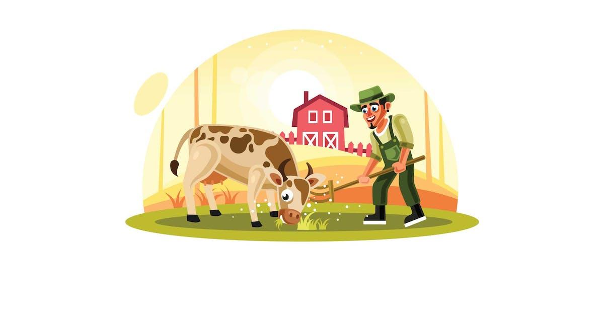 Download Farmer Feeding Grass to Cow in Farm by IanMikraz