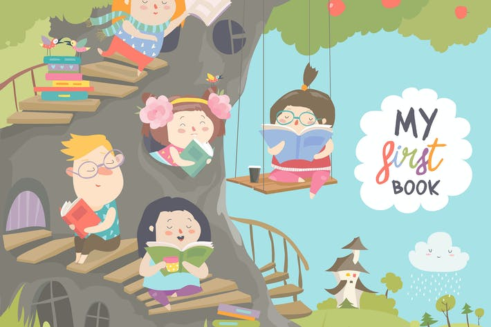 Thumbnail for Happy children reading books in the treehouse.