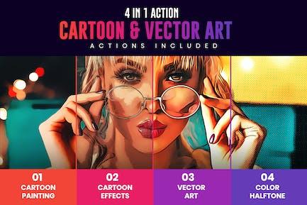 4 in 1 Cartoon & Vector Art Photoshop Actions