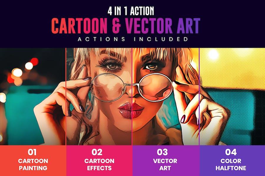 4 в 1 мультфильм и векторное искусство Photoshop действия