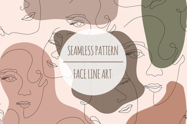Face Line Art – Seamless Pattern