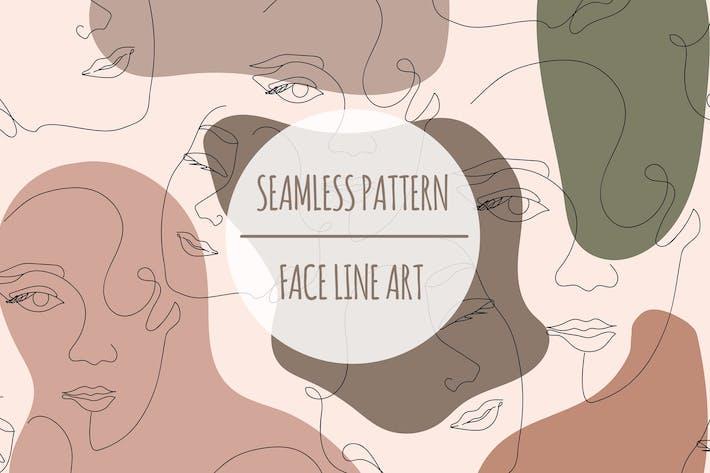 Thumbnail for Face Line Art — Patrón sin costuras