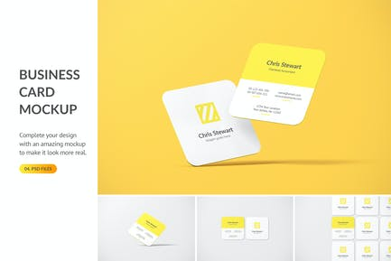 Rounded Square Business Card Mockup