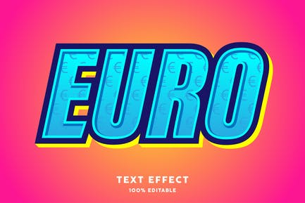 Euro texture symbol text style effect