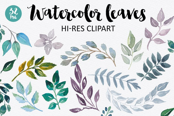 Thumbnail for Watercolor Leaves Collection