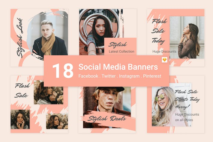 Thumbnail for 18 Social Media Banners Kit (Vol. 7) for Sketch