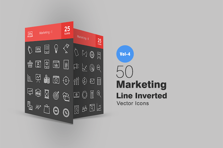 Thumbnail for 50 Marketing Line Inverted Icons