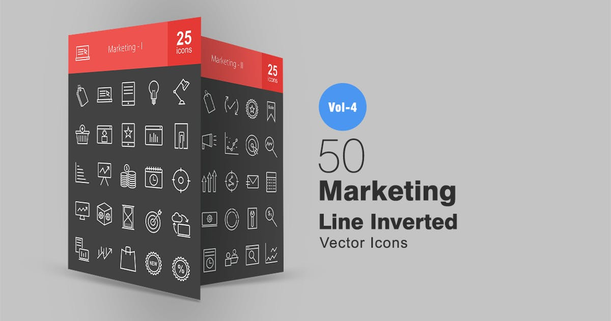 Download 50 Marketing Line Inverted Icons by IconBunny