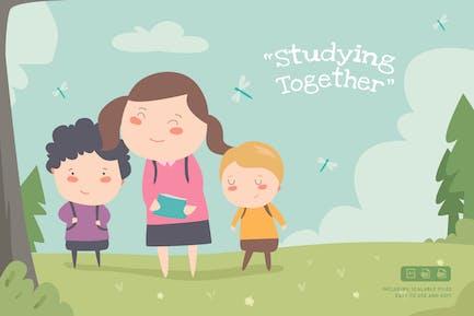 Studieren - Ilustration Vorlage