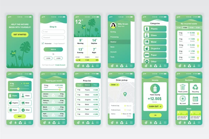 Thumbnail for Kit de UX y UI de Ecology Móvil Aplicación