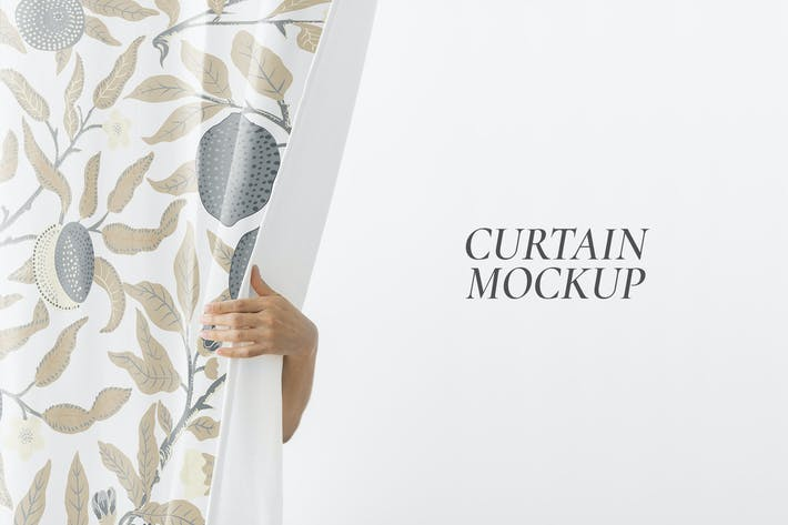 Hand opening a white curtain mockup
