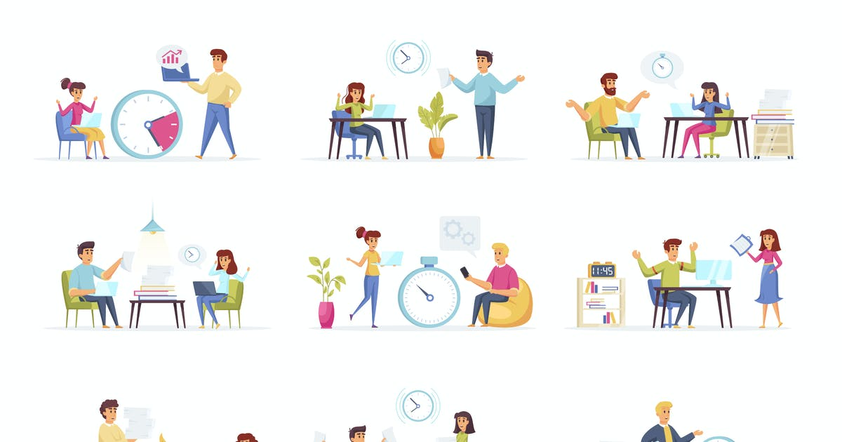 Download Office Manager People Character Situation Scenes by alexdndz