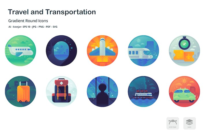 Thumbnail for Travel and Holiday Gradient Round Icons