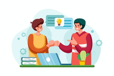 Mitarbeiter des Unternehmens teilen Gedanken und Ideen