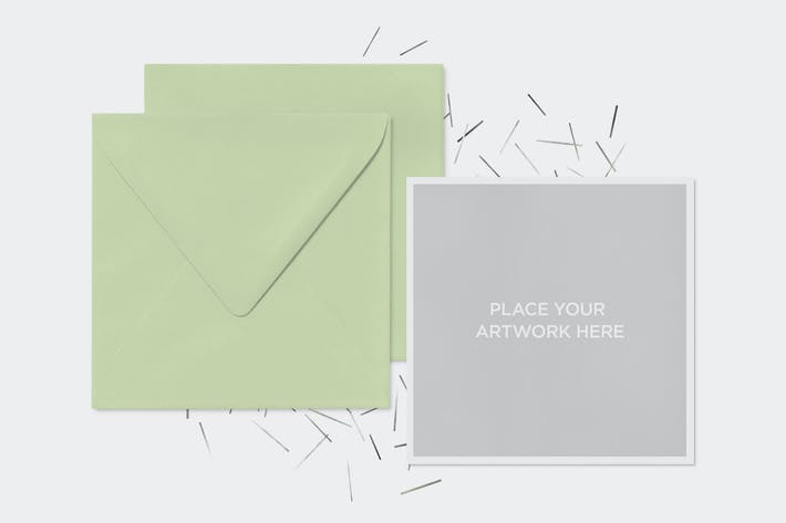 Thumbnail for Invitation Greeting Square Cards Envelope Mock-Up