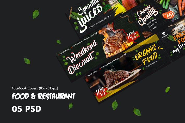 Thumbnail for Food & Restaurants Facebook Cover PSD Template