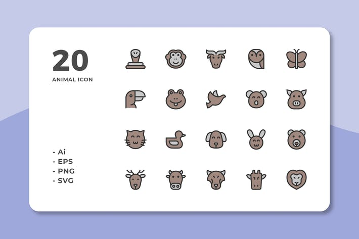 20 Animal Icons (lineale Farbe)