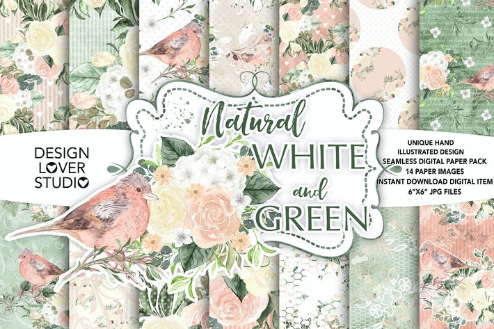Thumbnail for Watercolor flowers white green digital paper pack