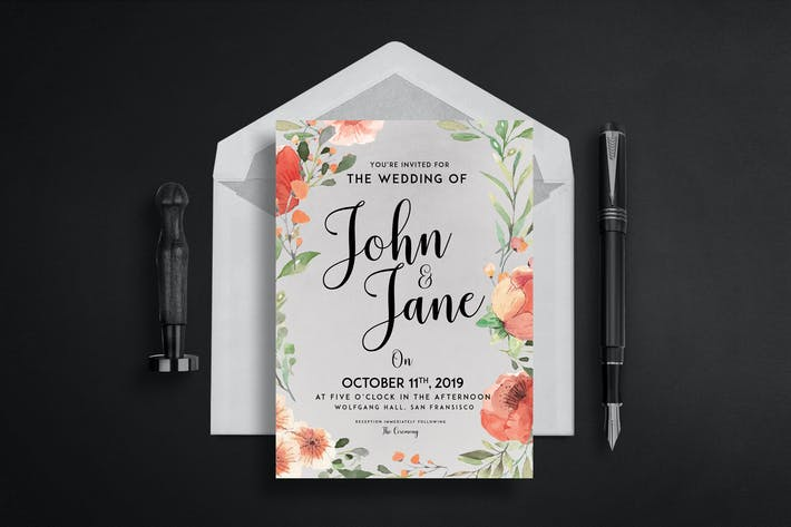 Thumbnail for Modern-Vintage Wedding Suite invitation