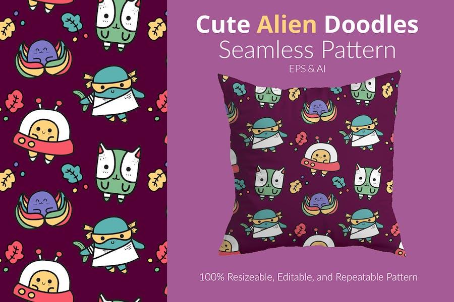 Süßes Alien-Doodle-Muster