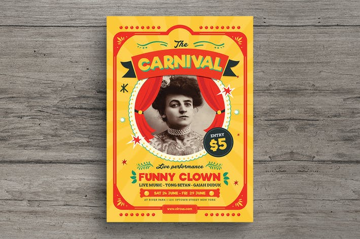 Thumbnail for Retro Circus Carnival Flyer