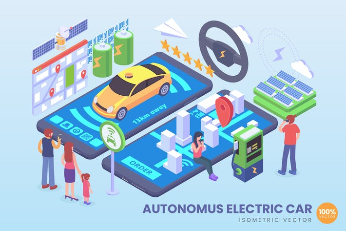 Isometric Autonomous Electric Car Vector Concept