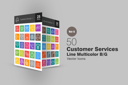 50 Customer Services Line Multicolor Icons