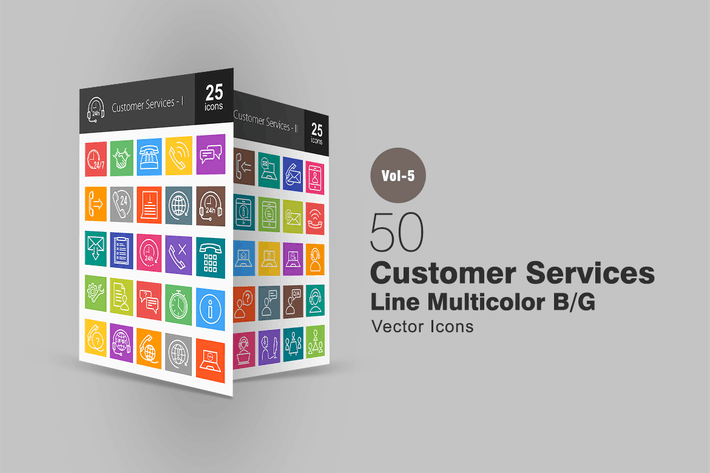 Thumbnail for 50 Customer Services Line Multicolor Icons