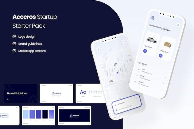 Acccros - Startup Starter Pack App UI Kit + Logo