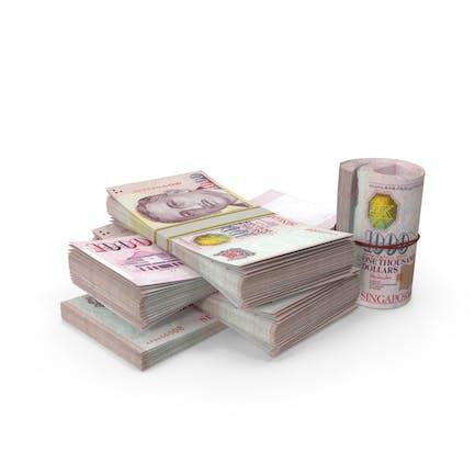 Kleiner Haufen Singapur-Dollar-Stacks
