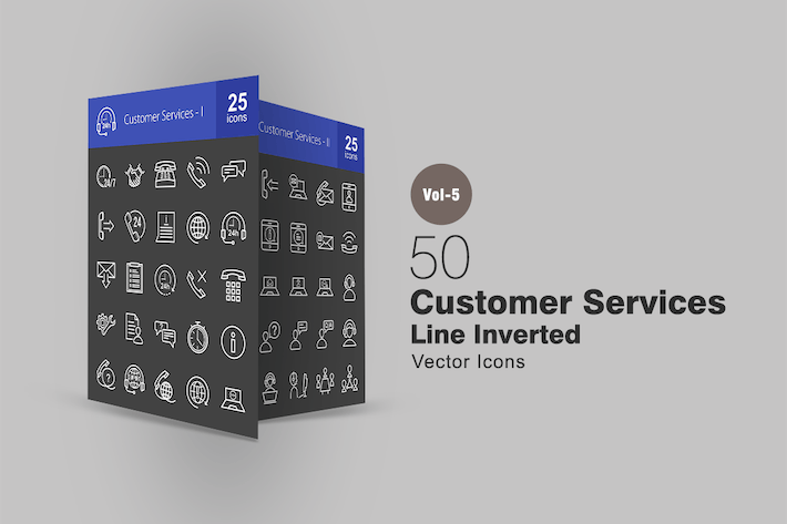 Thumbnail for 50 Customer Services Line Inverted Icons
