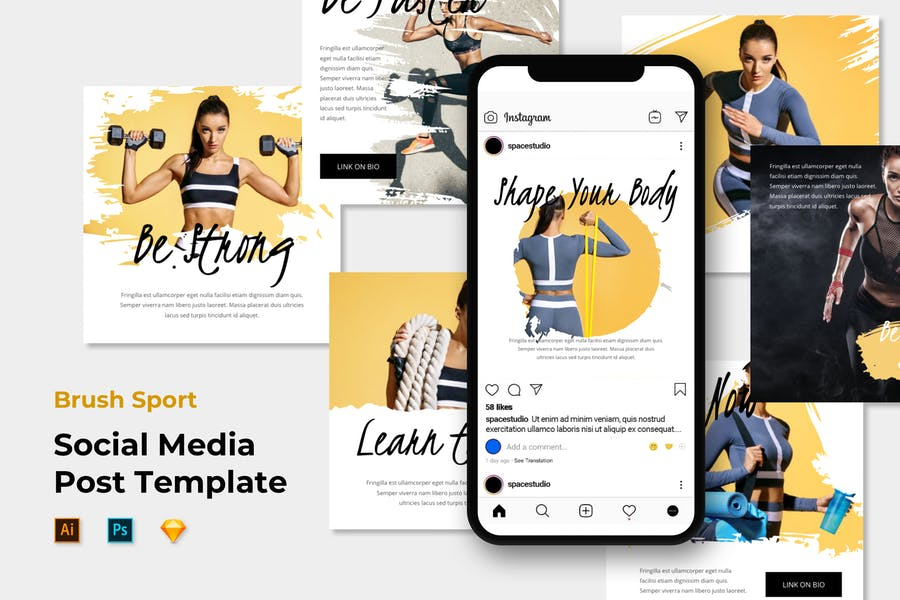 Brush Sport - Instagram Post/Feed PSD Template